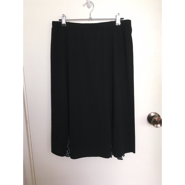 Black Midi Skirt with Floral Panels