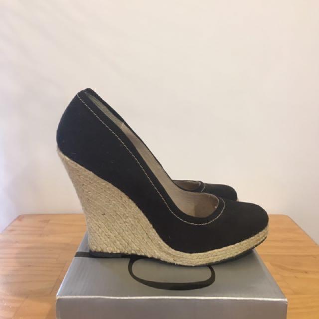Black Wedge Heel Size 9