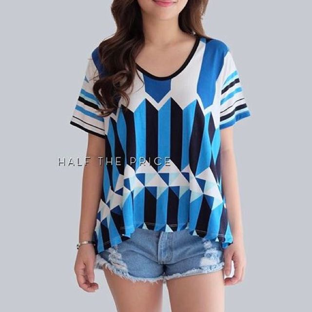 Blue Printed Semi Hang Top