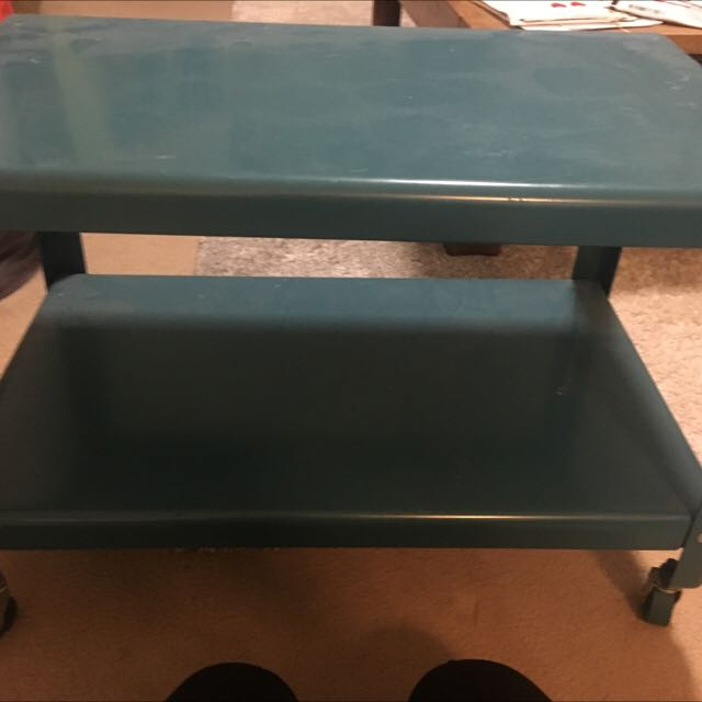 Blue Retro Style Table On Wheels