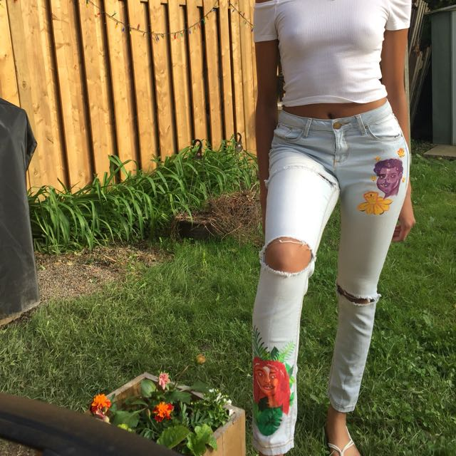 """Bonnie & Clyde"" Handmade DIY Painted Ripped Skinny Jeans"