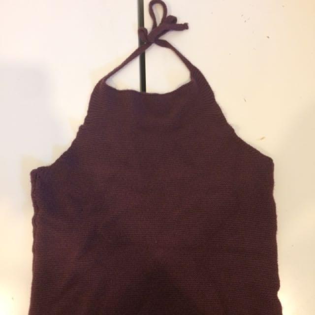 Brandy Melville Burgundy Knit Halter