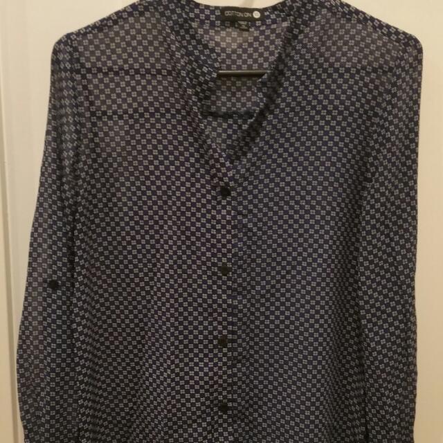 Collarless Sheer Shirt Size XS