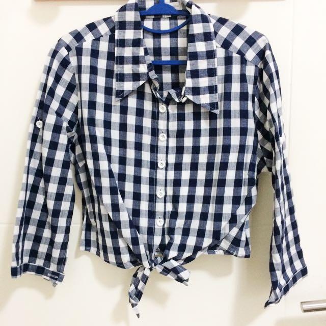 Crop Ribbon Checkered Shirt