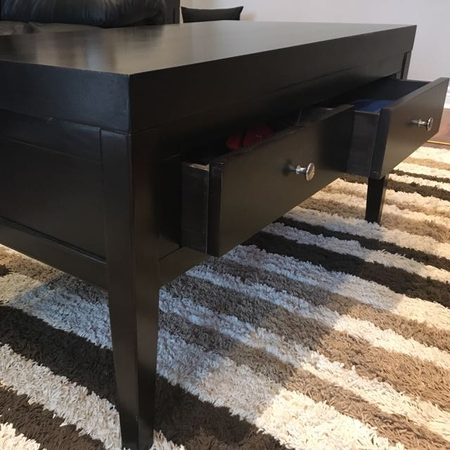 Espresso Solid Wood Coffee Table Set with 2 End Tables with Drawers