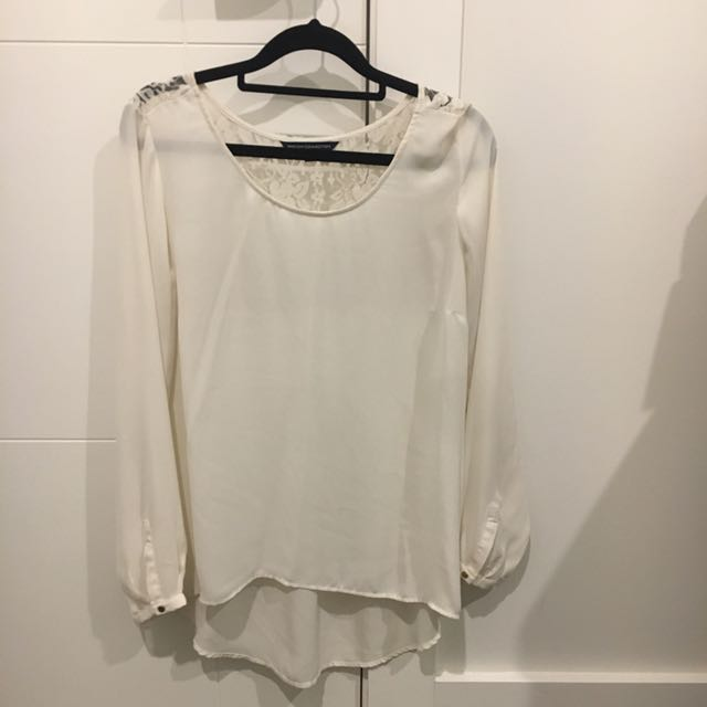 French Connection White Long Sleeve Top