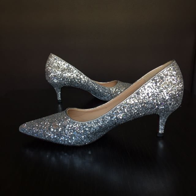 892b305acf6 Silver Glitter Bling Bling Kitten Heels