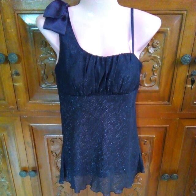 Glittery Black Sleeveless Top