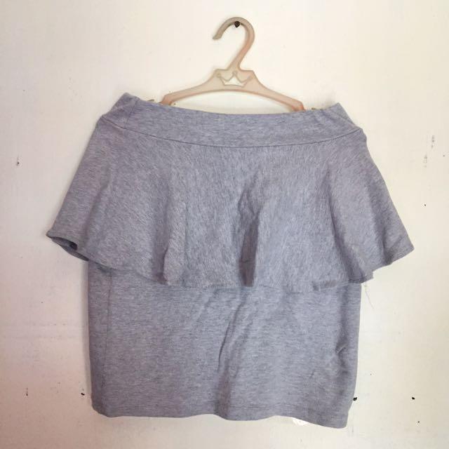 Gray Peplum Skirt