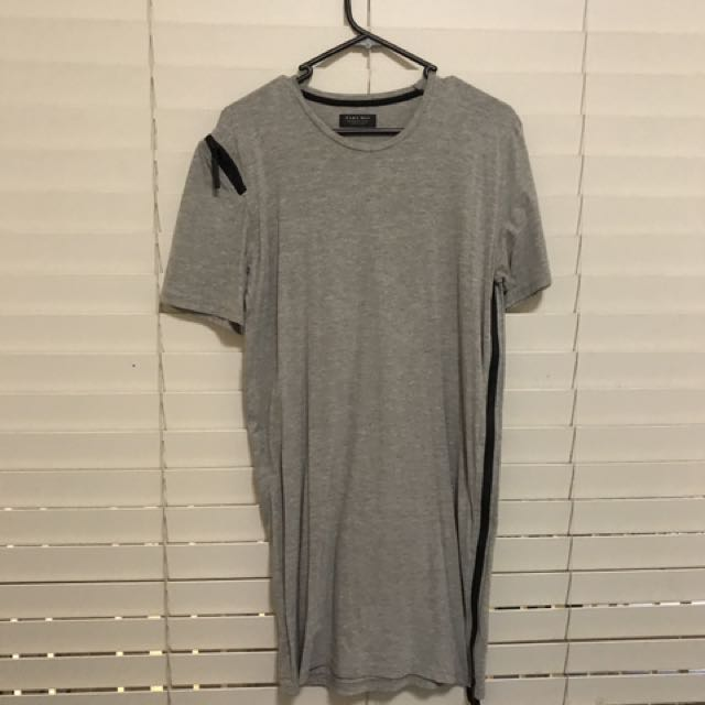 Grey Longline With Zips On Side And Shoulder T-Shirt