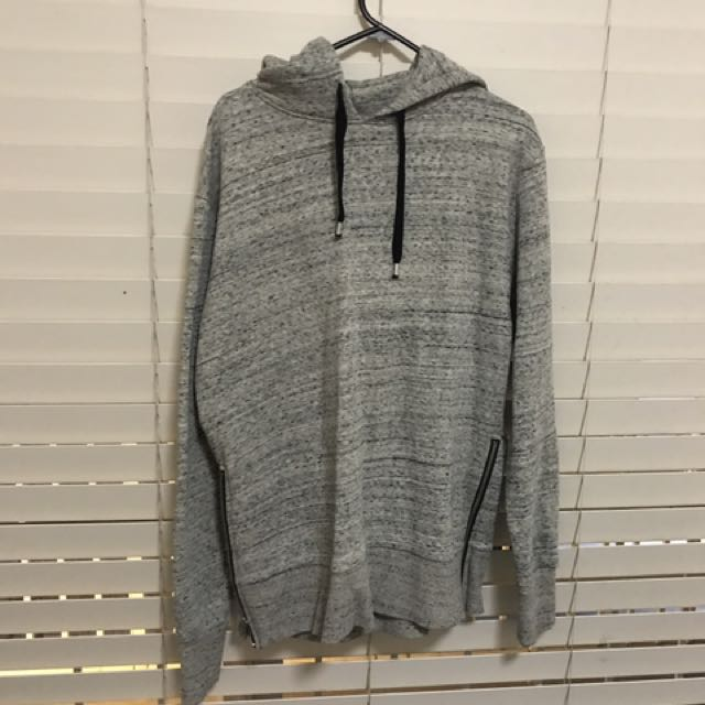 Grey Marble Hoodie With Zips On The Sides