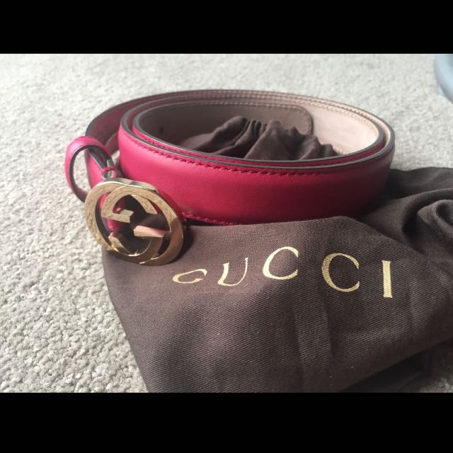 Gucci Pink Leather Belt BRAND NEW
