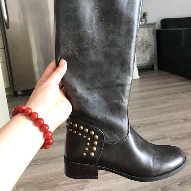 Guess Dark Brown Women's High Flat Boots