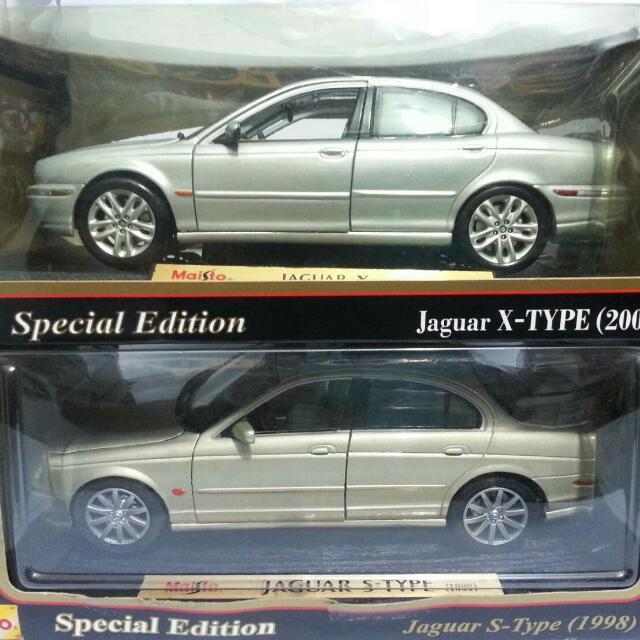 Die Cast Mobil Jaguar X type (silver) maisto Jaguar S type (gold)