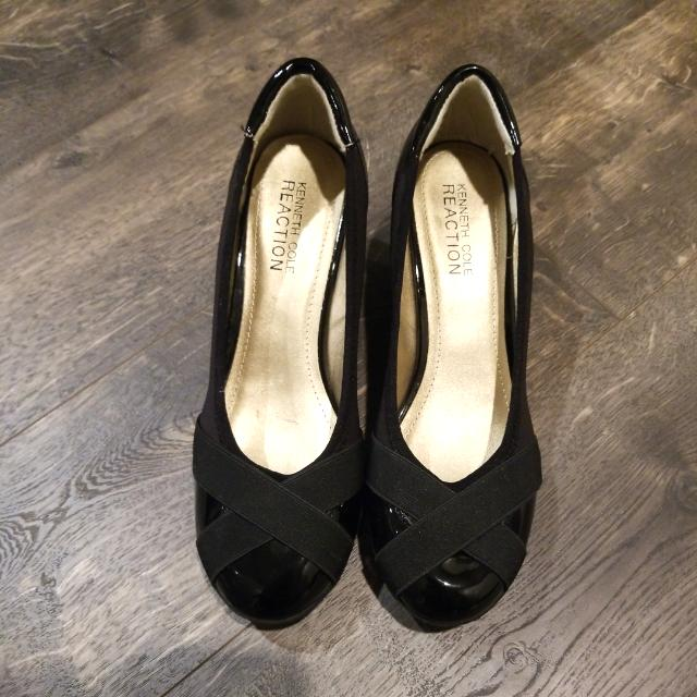 KENNETH COLE#ROUND TOE WEDGE SHOES # BLACK