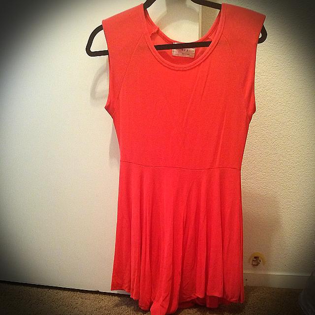 Korean Style Dress #Coral # Peach Orange# Size:S
