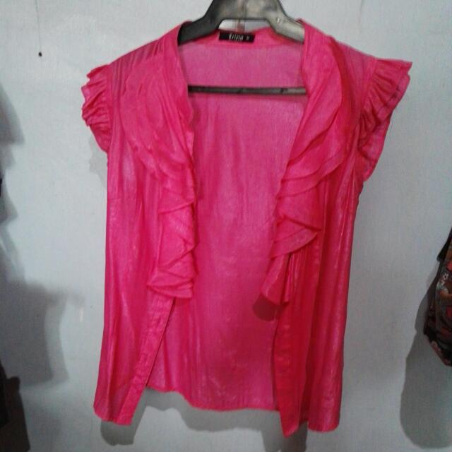 Krizia Shiny Pink Raffled Peek-a-boo Blouse
