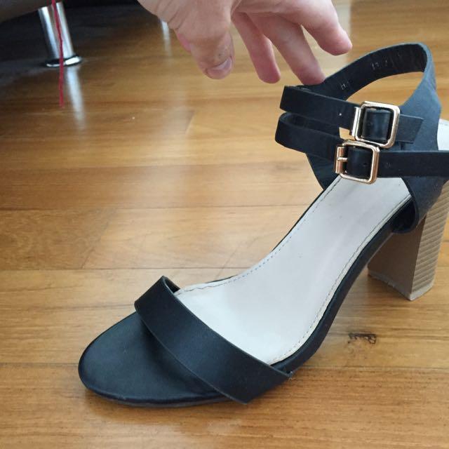 Ladies Black Strap Sandal Heels