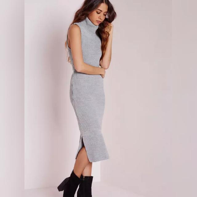 Light Grey ❤ Sleeveles Knit Dress