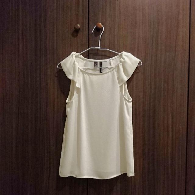 【全新】Mango 白色雪紡 荷葉袖 無袖襯衫