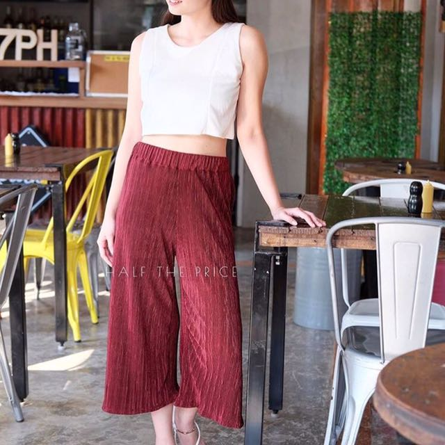 Maroon Pleated Pants