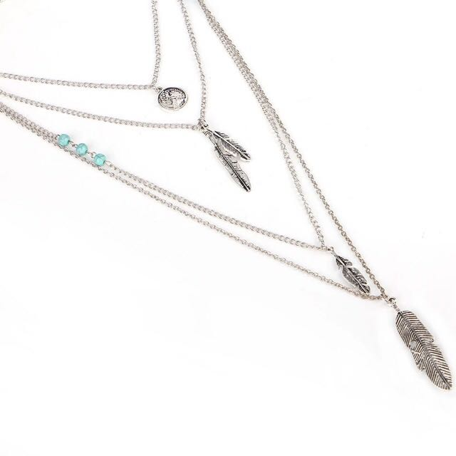 Match-Right Women Necklace Feather Statement Necklaces Pendants Vintage Jewelry Multi Layers Long Necklace