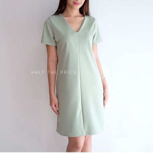 Mint V Neck Dress