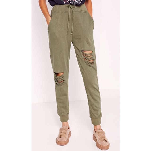 New | (AU 10) Missguided Ripped Front Joggers Khaki BNWT