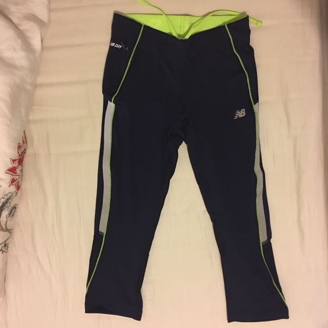 NEW BALANCE Women's Dark Blue With Lime Glo Capri/Tight XS! NEW