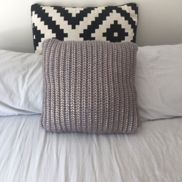 Nood Cushion Grey Knitted Cushion Dipped In Rose Gold.