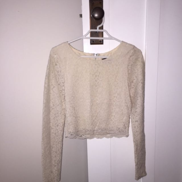 Nude Cropped Lace Long Sleeve Top