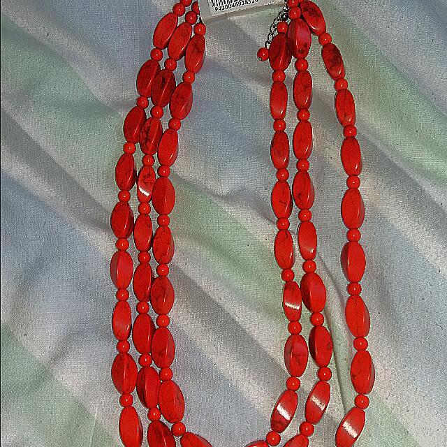 Orange Beaded Necklace 3×