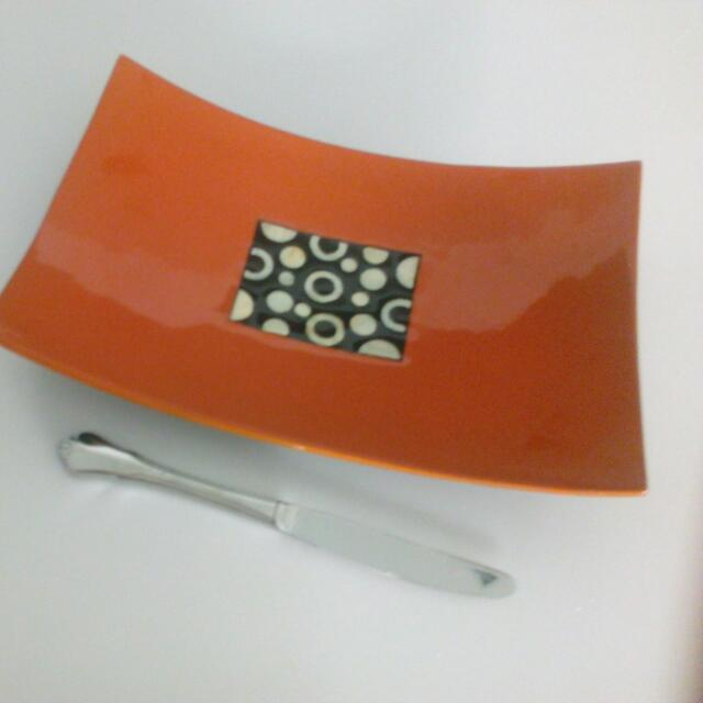 Orange Lacquerware Curved Tray Display Stand