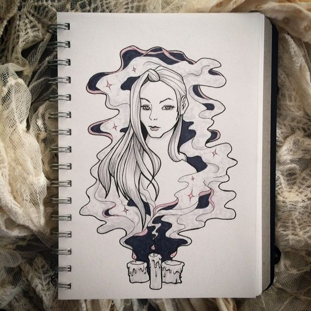 Original Drawing Pen And Marker Witch Smoke Candle Woman