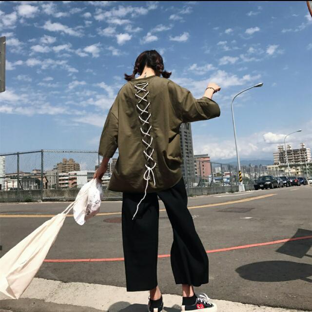 Oversized中長綁帶Tshirt