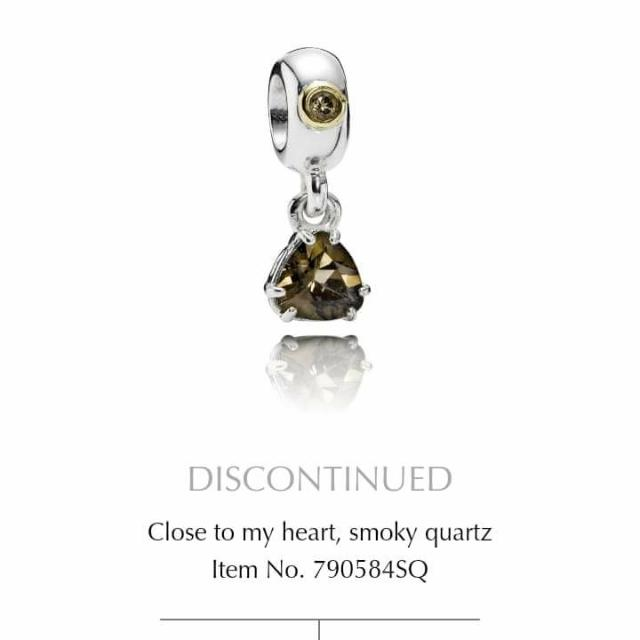 Pandora-正品Abstract silver dangle with 14k and smoky quartz