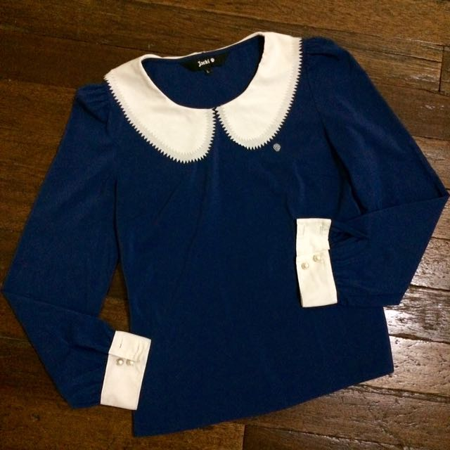 Peter Pan Collared Long Sleeves Navy Blue