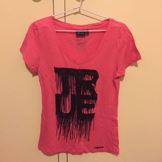 Pink V-neck ONLY Tshirt