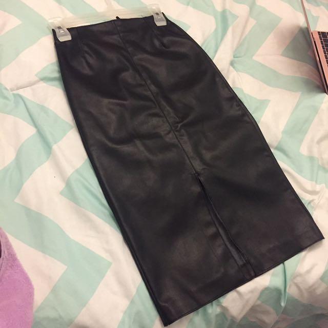 Premium Faux leather midi Skirt