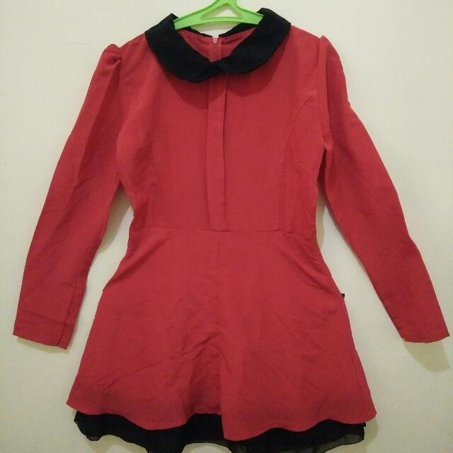 Red-Longsleeves Dress