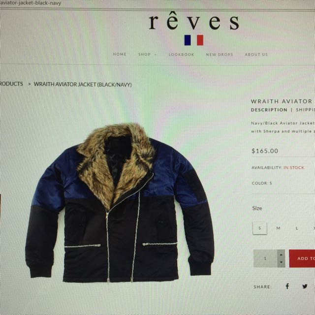 Reves Wraith Aviator Jacket (Black/Navy) (S)