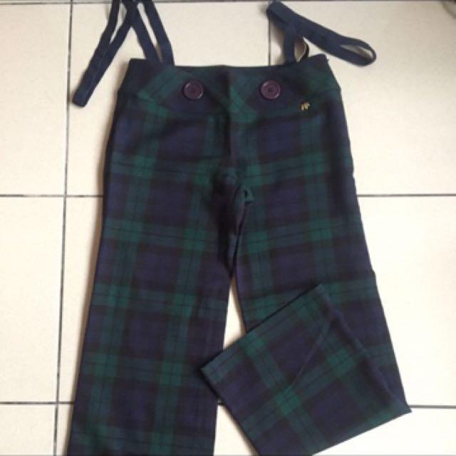 Scottish house 全新藍綠格吊帶長褲