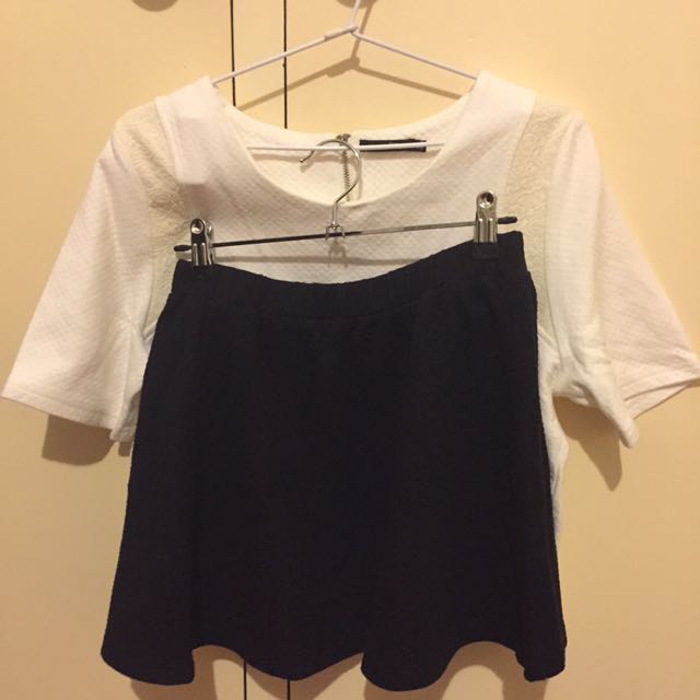Set Of White Top And Black Skirt