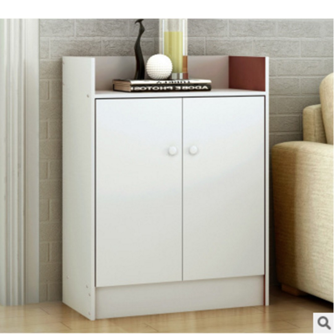 Simple and Neat White Shoe Cabinet