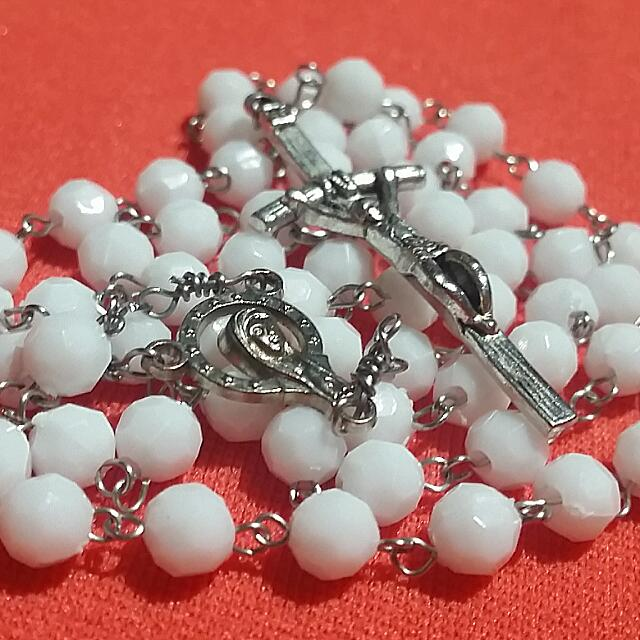 Stainless Steel Chain Rosary With White Beads