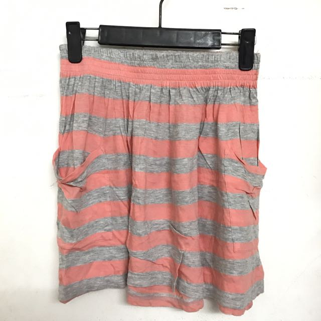 Stripes Skirt Orange-Grey (Forever 21)