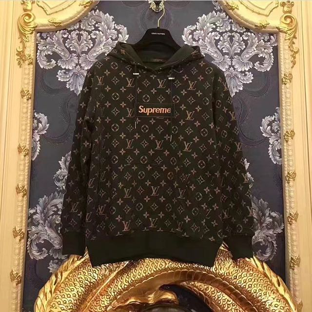 supreme x lv louis vuitton hoodie luxury apparel on. Black Bedroom Furniture Sets. Home Design Ideas