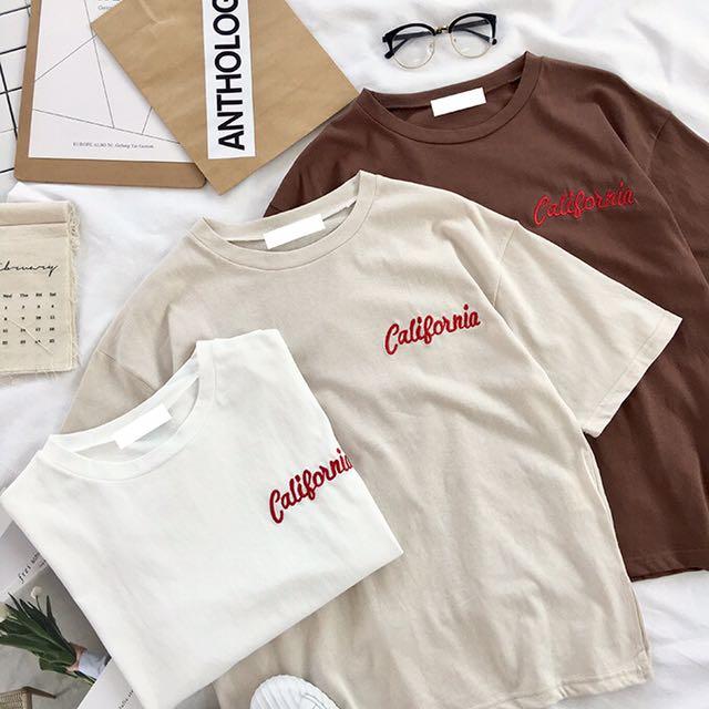 訂單胸前簡約字母刺繡小開叉韓國夏季寬松顯瘦百搭圓領短袖T恤女