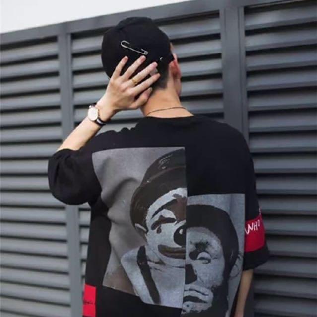 T.J.C 街頭風 刺繡拼接圖小丑五分袖衫