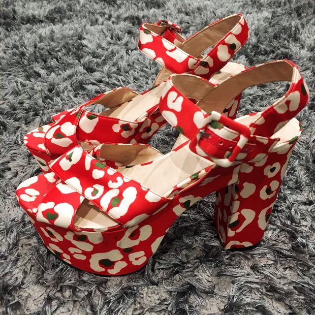 Topshop Red Platform Heels Size 39 EUR/ 8